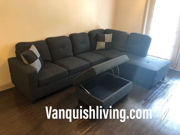 New Charcoal Grey Sectional Sofa with Pillows and Storage ...