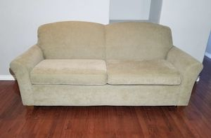 Photo Flexsteel Light Brown Corduroy Wide 2-Seat Couch w/ Bench Style Back