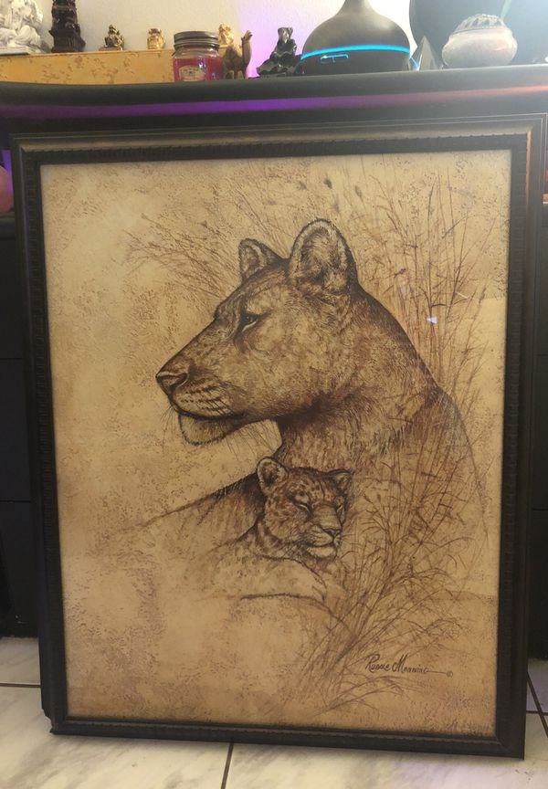 Framed Lion Picture For Sale In Coral Springs Fl Offerup