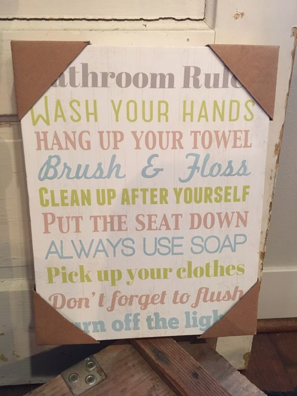 Bathroom Rules Canvas Sign For Sale In Bothell Wa Offerup