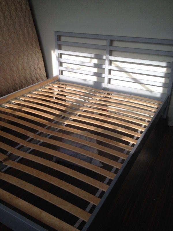 IKEA Queen size tarva grey pine wood bed frame (Furniture) in Queens ...