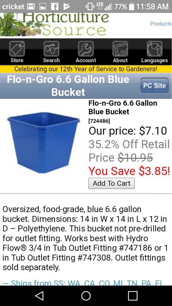 Flo Gro 6 6 gallon growing Hydroponic pots  75% off Reg price  400  available!!! for Sale in Portland, OR - OfferUp