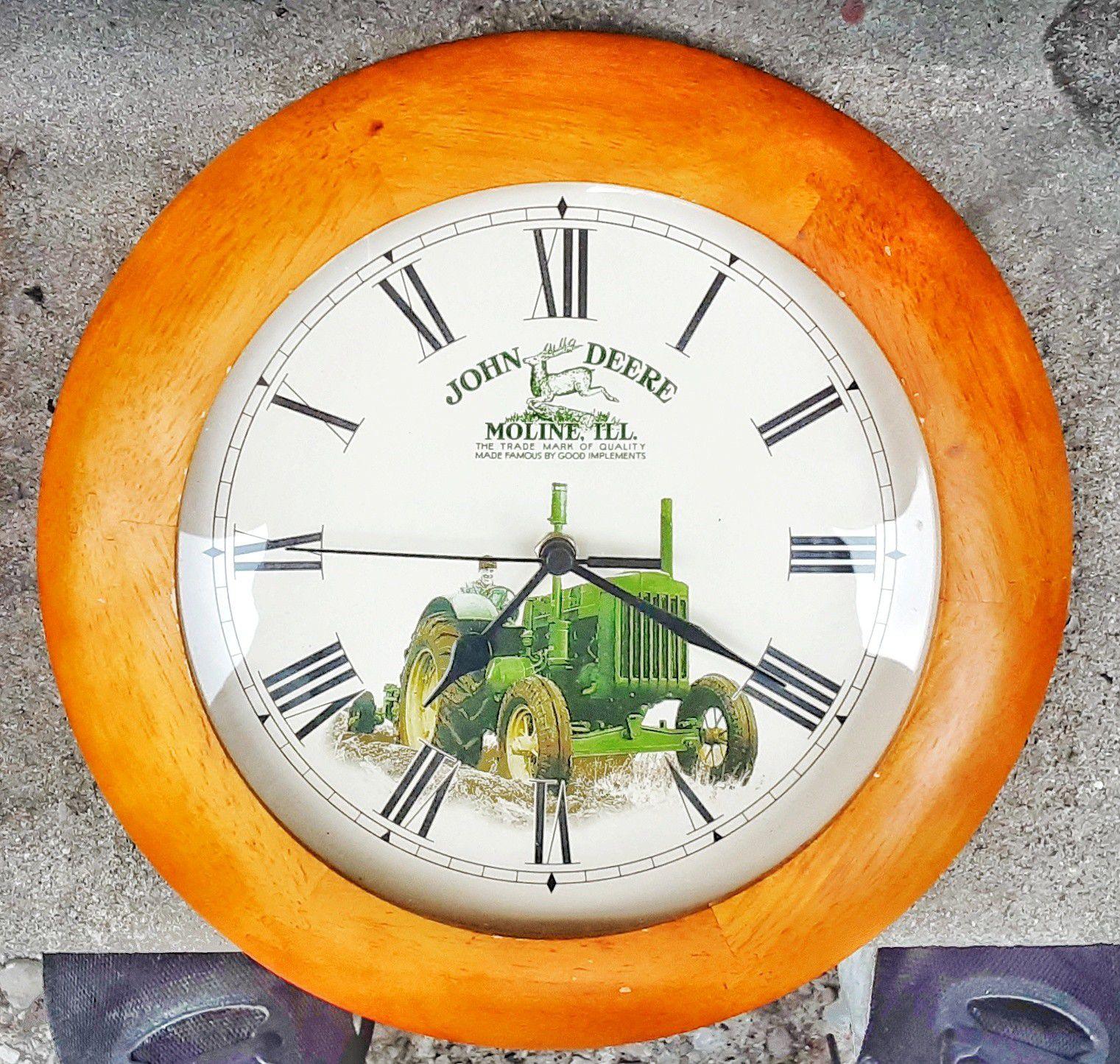 "John Deere moline Illinois green tractor 11"" D quartz wall clock with new AA battery!"