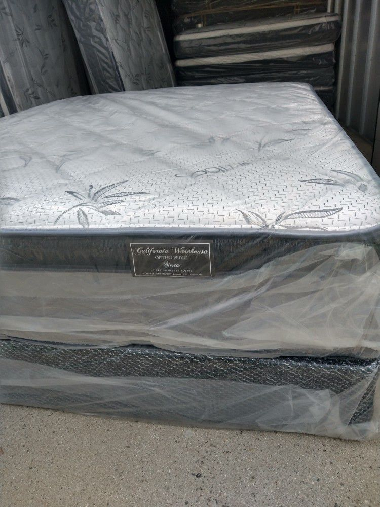 """Queen Mattress With Box Spring Bamboo Pillow Top 12""""Thick Orthopedic Brand New"""