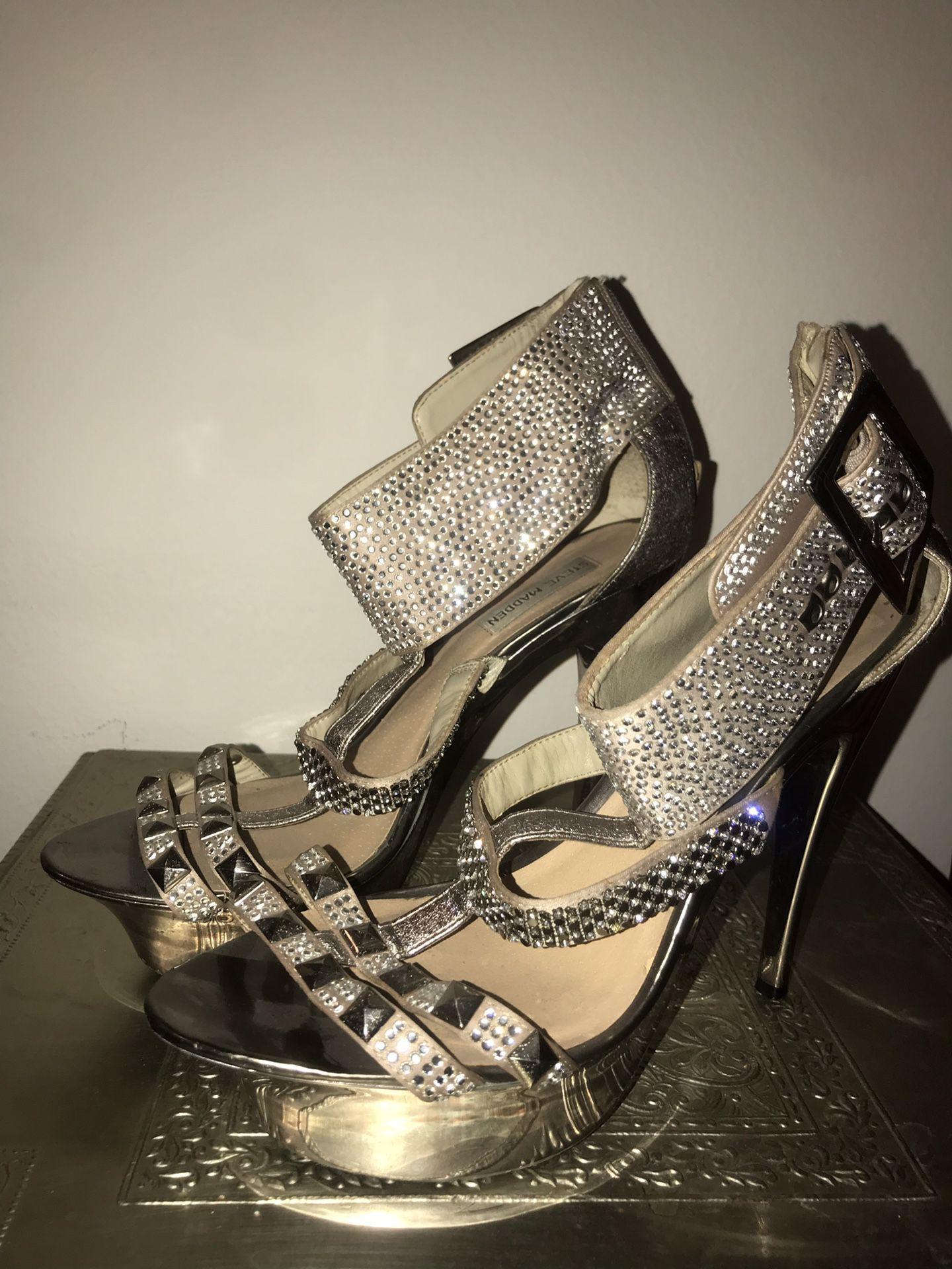 Steve Madden Gold Sparkly Rhinestone Ankle Cuff Stillettos - Size 10
