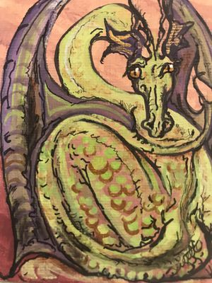 Photo Miniature Art: original painting at Green Dragon with gilded scales