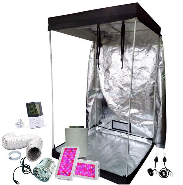 4x4 Grow tent kit w/ 2/1000w full spectrum led Grow lights, fan, filter,  adj light hangers, ducting, temp/humid monitor for Sale in Colorado  Springs,
