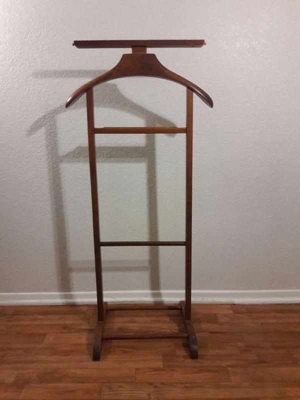 Vintage Wooden Valet Butler Suit Rack Clothes Stand For