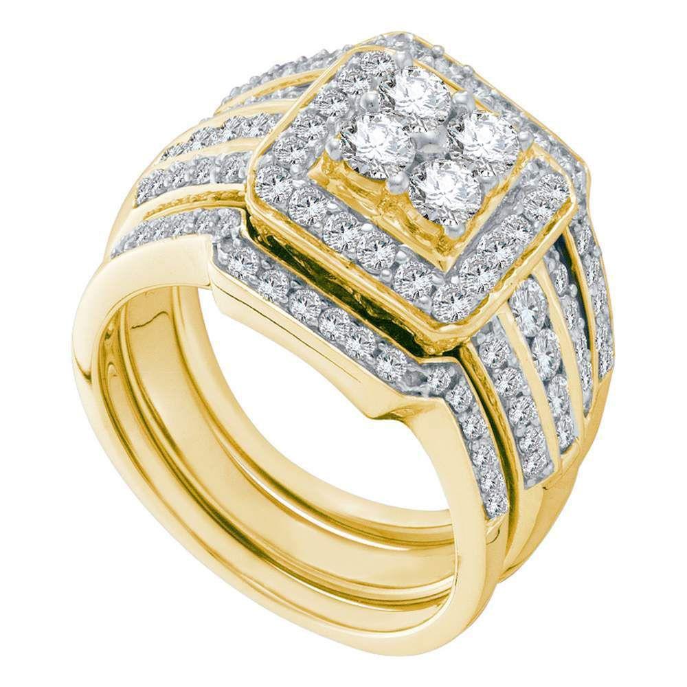 Saris and Things 14kt Yellow Gold Round Diamond Bridal Wedding Ring Band Set 1-1/2 Cttw