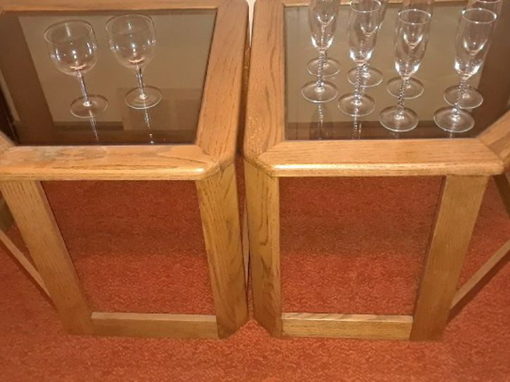 2 Wood Glass Tables