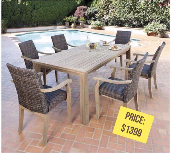 Hilo 100% FSC Certified TeAK 7 Piece Dining Set for Sale in Los ...
