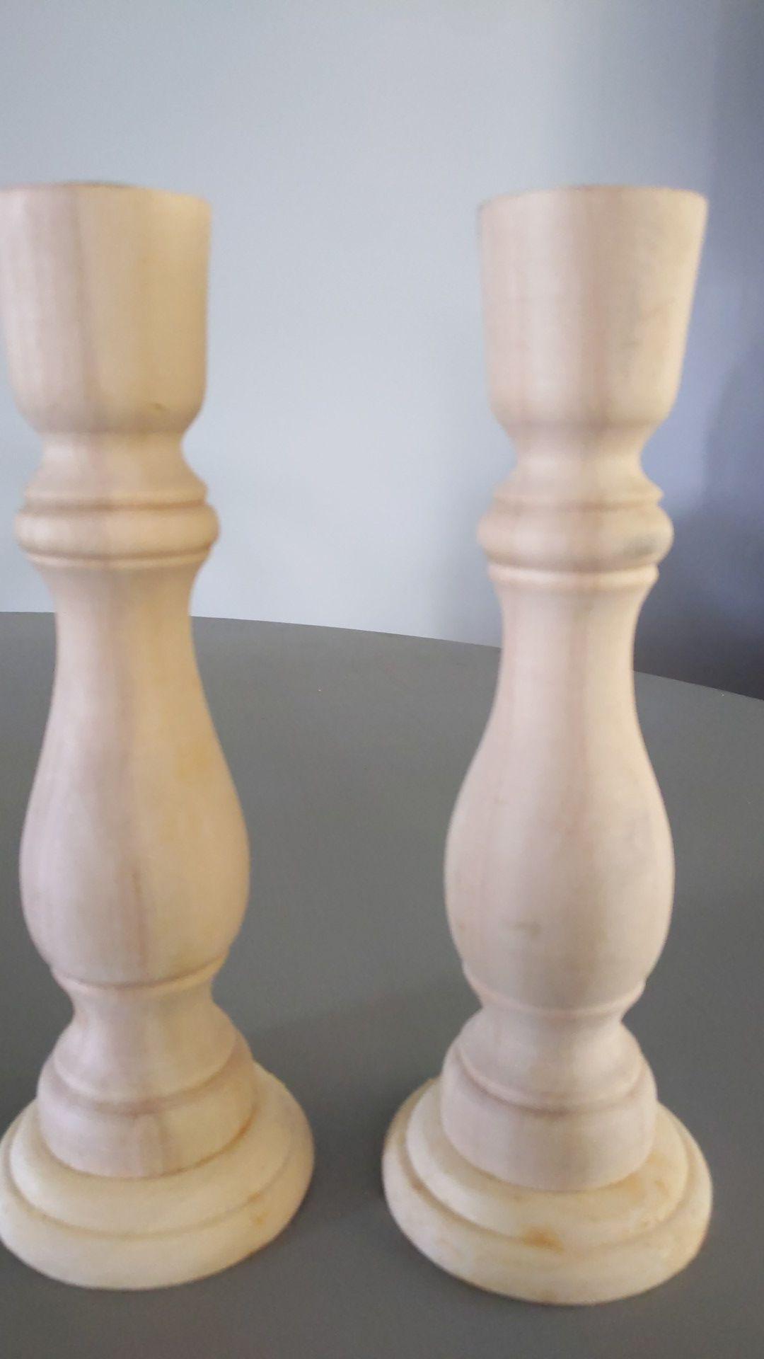 Pair wood candlesticks