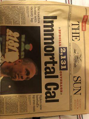 Photo Baltimore Orioles Cal Ripken Jr newspaper from Baltimore Sun Special Coverage edition on Thursday September 7th 1995 2,131 consecutive Days Special E