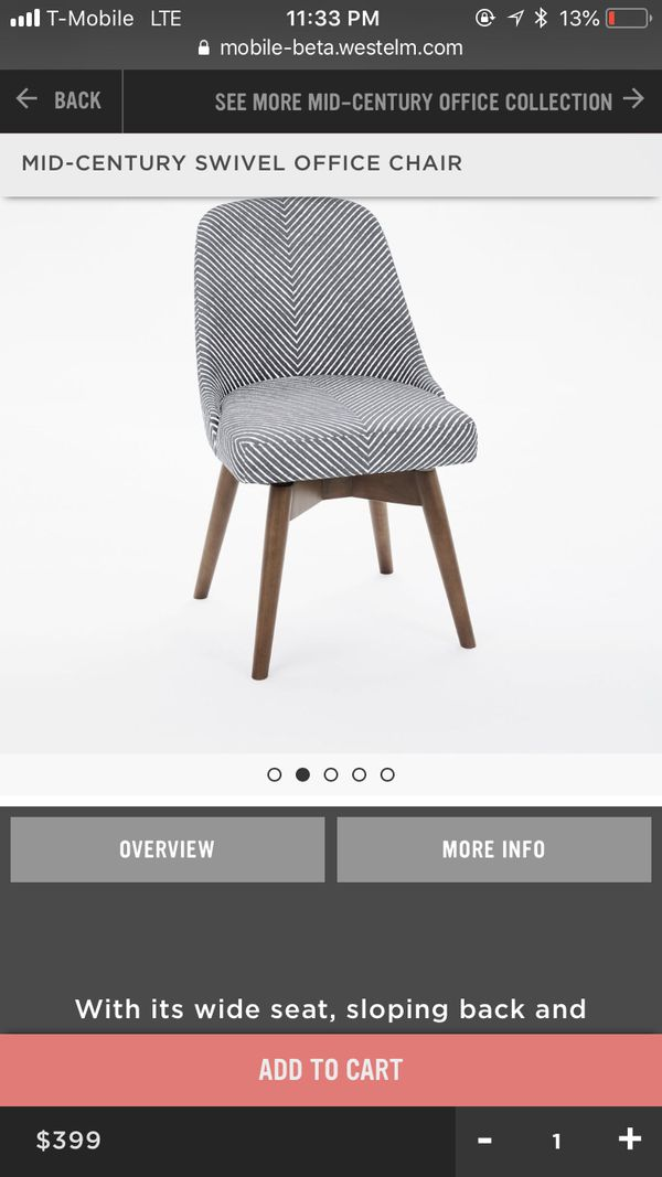 Image of: Mid Century Swivel Striped Office Chair From West Elm For Sale In Mountlake Terrace Wa Offerup