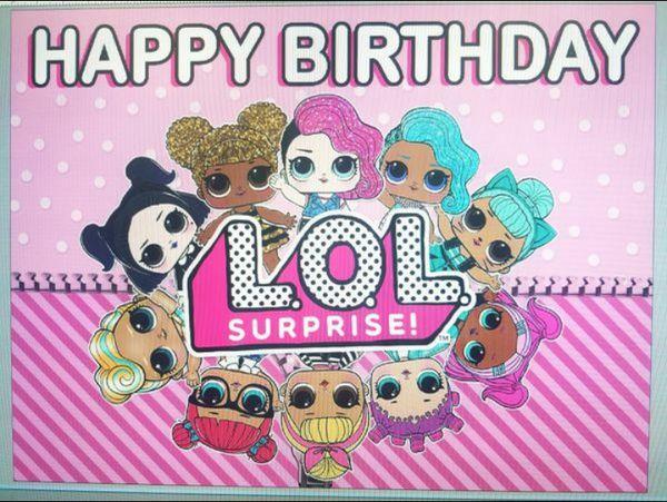 Lol Surprise Happy Birthday Banner 3ftx4ft Regular Paper