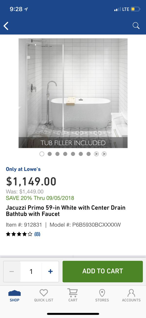 Jacuzzi primo freestanding Bathtub for Sale in Hialeah, FL - OfferUp