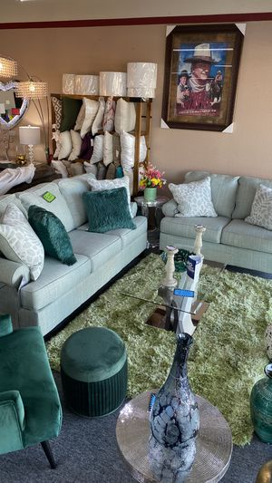 Photo Two Piece Sofa and Love Seat Greenish Color with Pillows JWPMB