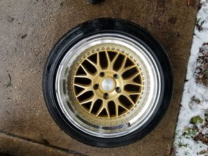 I have 4 rims 17x9.5 5x114.3 whit tires 225 45 17. 5x114.3 for Sale in Fort Washington, MD