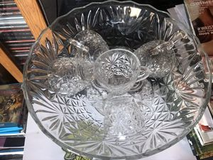 Photo Crystal Punch Bowl w/8 cups