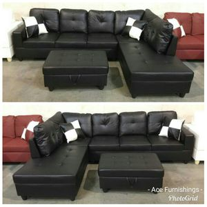 Brand New Black Leather Sectional With Storage Ottoman & Tax Free for Sale in Federal Way, WA