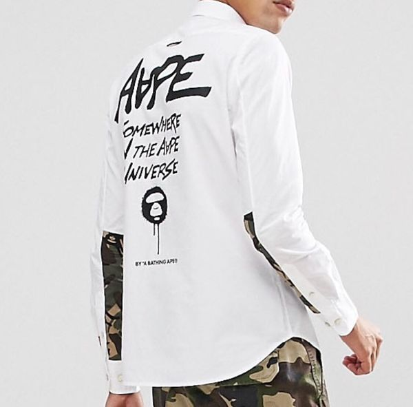 ccdcef2441fe AAPE By A Bathing Ape Bape White Button Up Shirt With Contrast Camo Print  Slim Fit Size XL