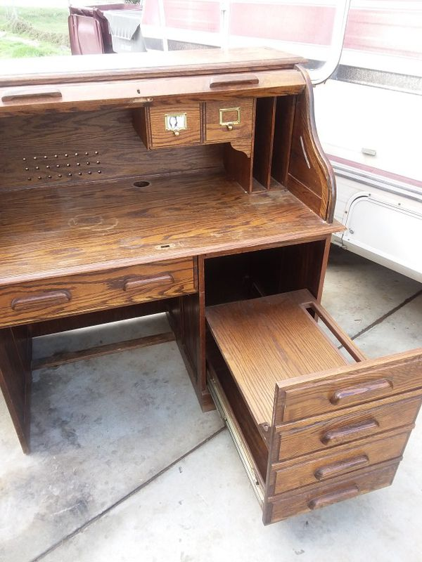 Antique All Wood Roll Top Desk Free Great Restoration Project For In Perris Ca Offerup