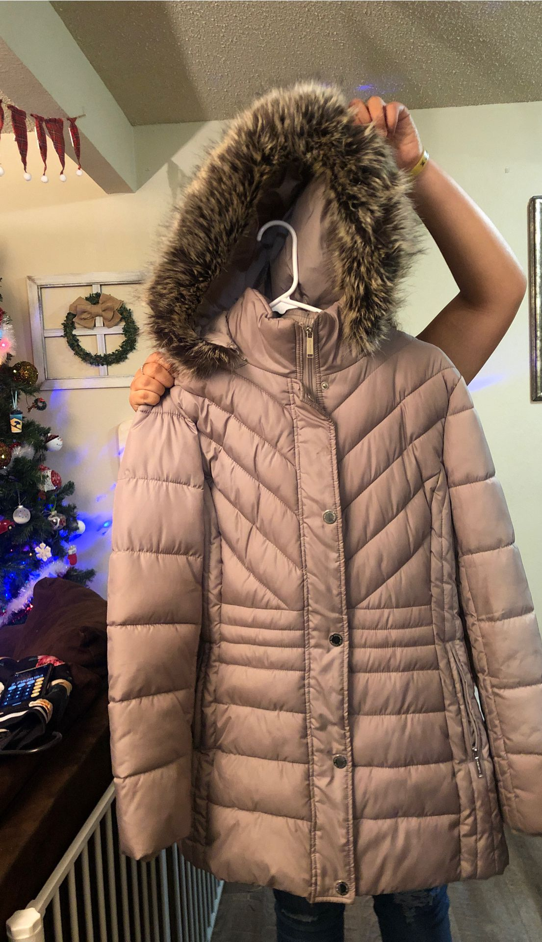 Coat with fur hood. Perfect condition