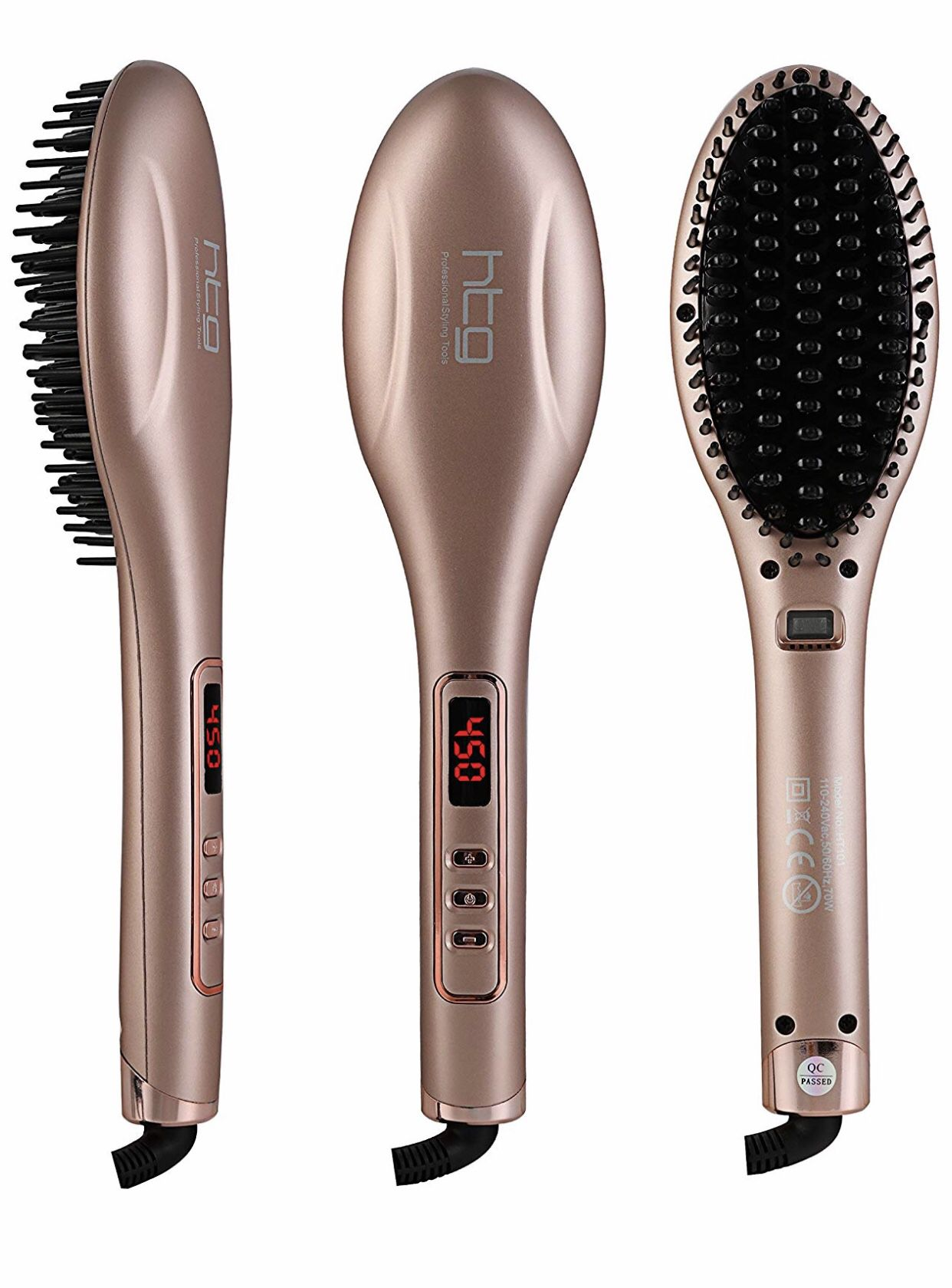 Flat Iron Hair Brush Straightener