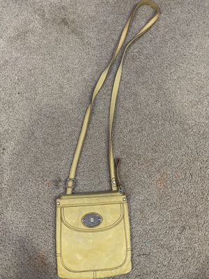 Photo Fossil yellow leather crossbody purse