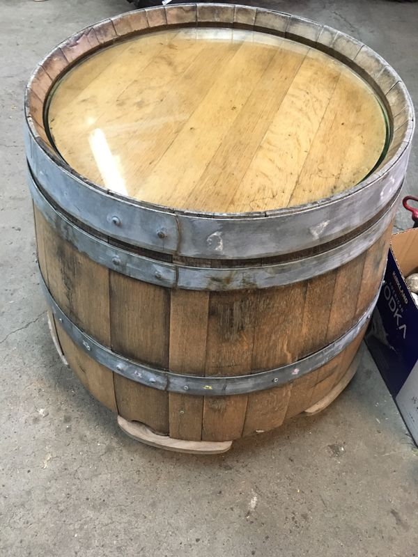 Oak Whiskey Barrel Glass Top Table For Sale In Wheaton Il
