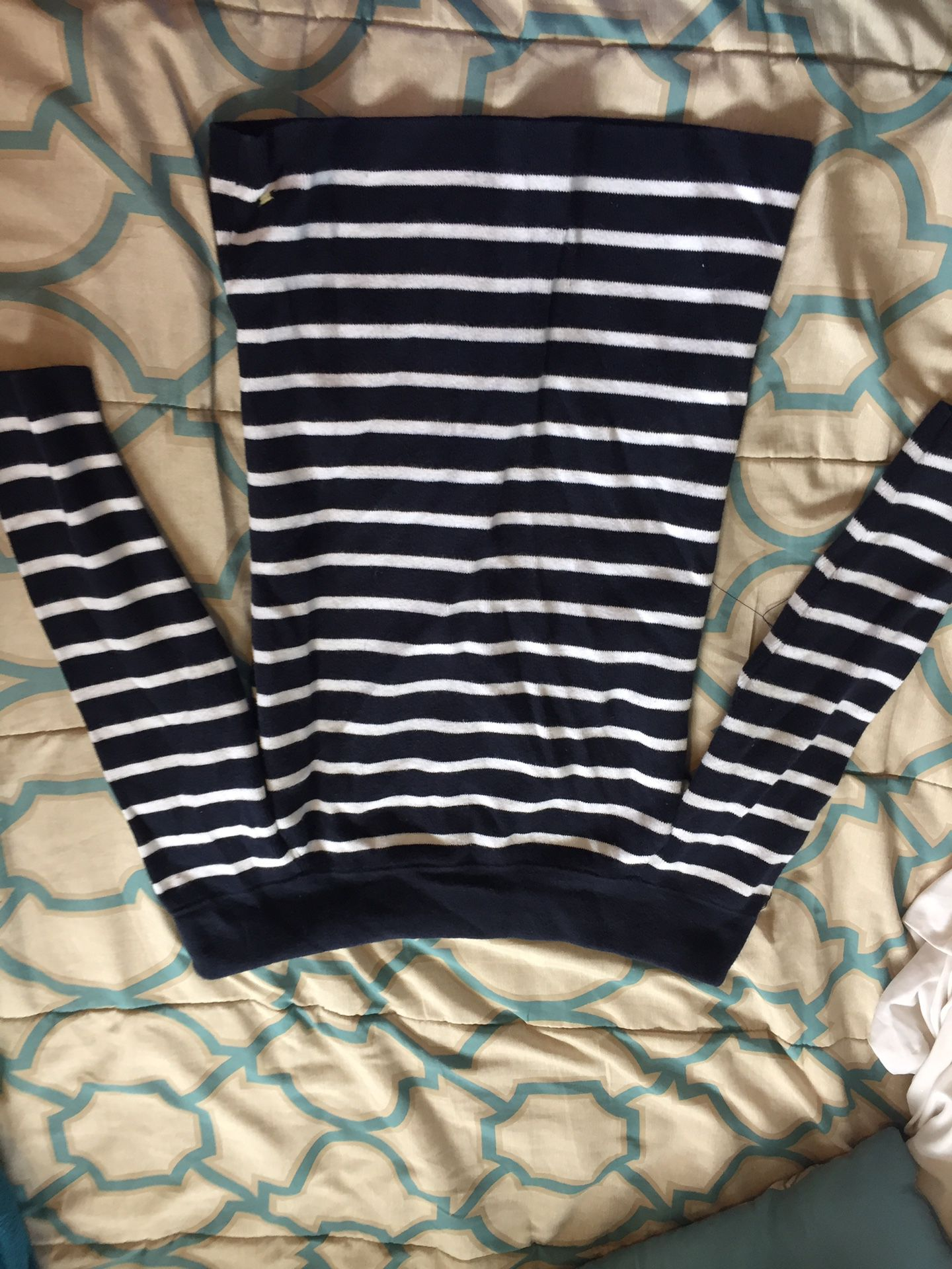Navy blue striped off-the-shoulder sweater