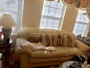 Hurry .. must go fast ! Cream leather sofa and love seat -good condition (pillows too) for Sale in Fairfax, VA