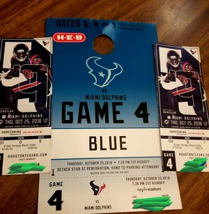 2 Texans tickets w/parking pass for Sale in Houston, TX