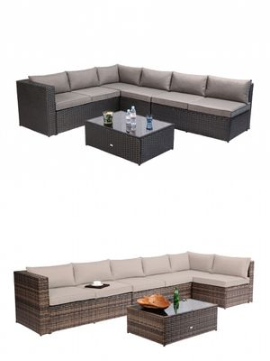 Azure Sky K86 Outdoor Furniture Sectional Sofa Patio 5 Pieces Set Black And Brown For