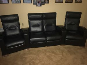 Theater room Black leather recliners sofa with cup holders for Sale in Fairfax, VA