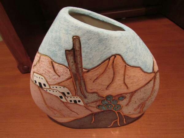 Adobe hand painted vase with gold details - southwest desert-