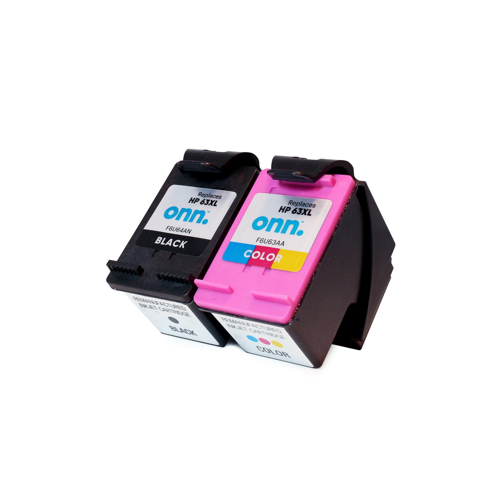 Brand New onn. Remanufactured Ink Cartridge, HP 63XL Black, 63XL Tri-Color, 2 Cartridges