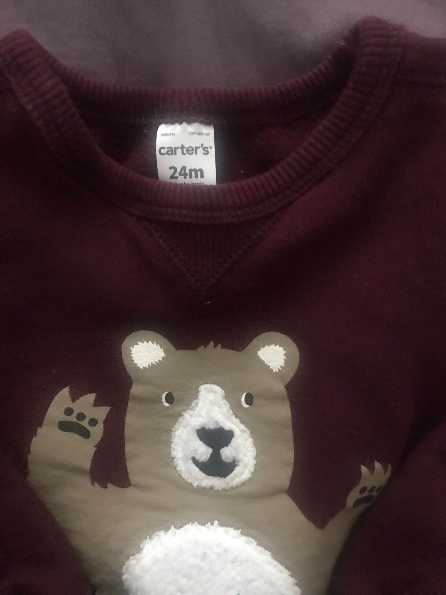 Carter's Burgundy Bear Sweatshirt 24M