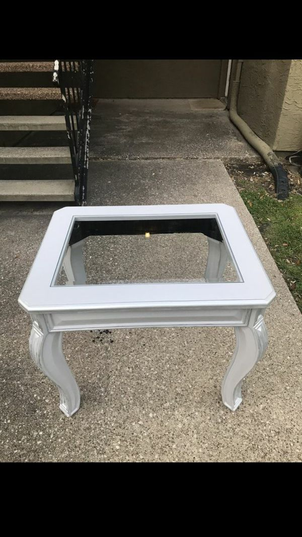 End Table Refinished Repainted Silver 30 Inches Long 24 Wide 25 Tall