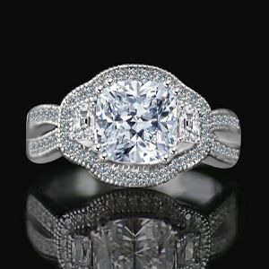 Intensely Radiant 2.5 CT. Cushion Vintage halo split shank engagement/wedding three stone Sterling Silver ring Simulated Diamond - Diamond Veneer. for Sale in New York, NY