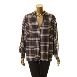 LUSH Women's Check Blouse Shirt Top Navy/rust Size M Thumbnail