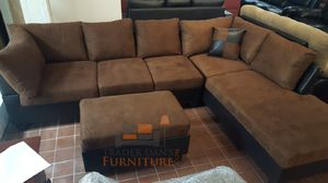 Brand New Brown Microfiber Sectional Sofa Couch + Ottoman for Sale in Wheaton-Glenmont, MD