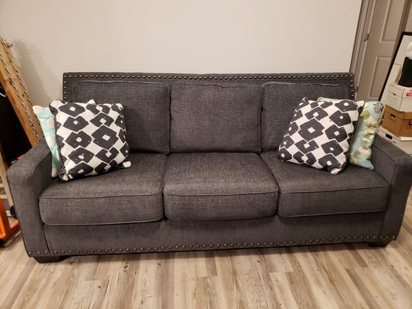 Ashley Furniture Grey Studded Sofa Couch For In Clayton Nc Offerup