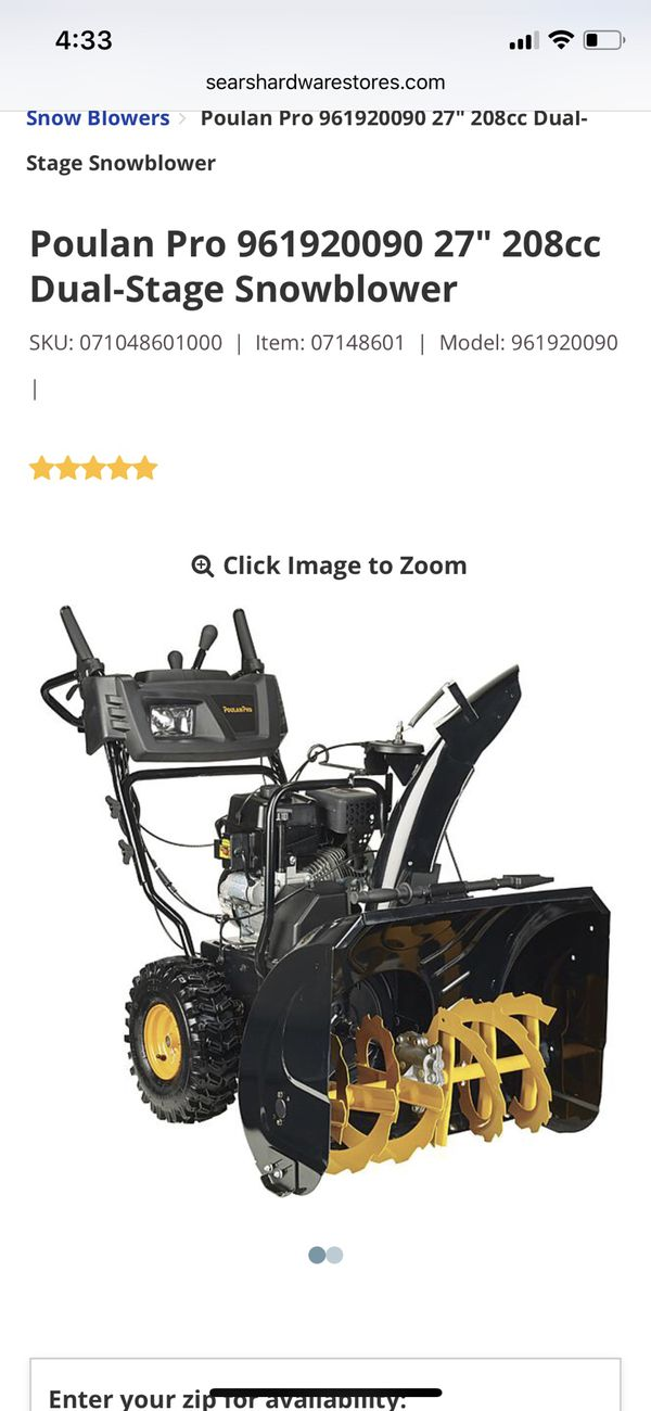 Poulan pro 961920090 snowblower for Sale in Wheaton, IL - OfferUp
