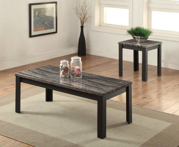 S899 1 Dark Faux Marble Coffee Table And End Table Set For Sale In