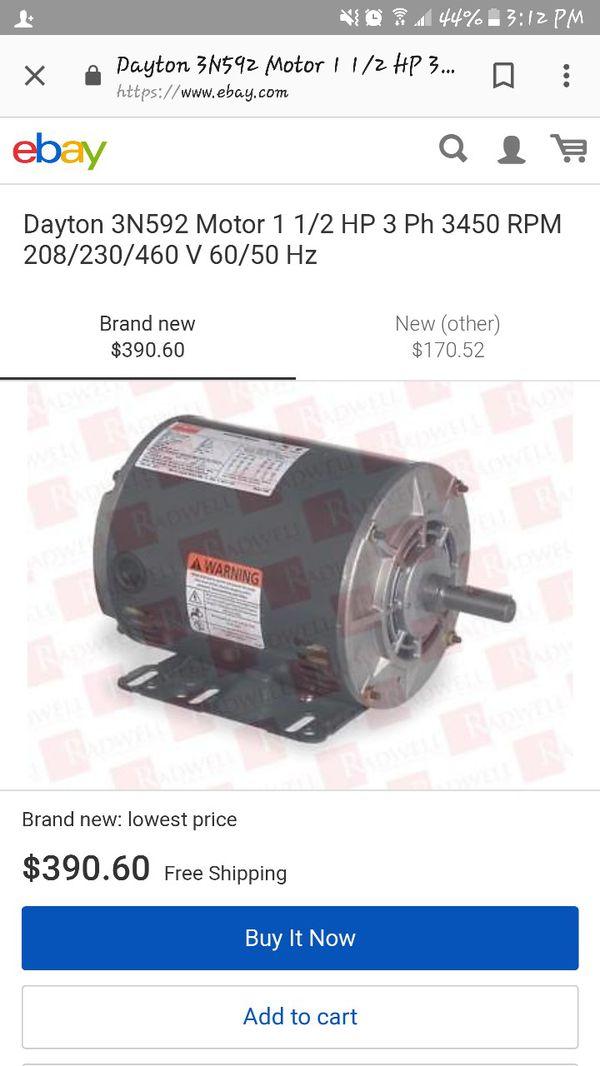 Dayton 3n592 Motor 1 1 2 Hp 3 Ph 3450 Rpm 208 230 460 V 60 50 Hz For