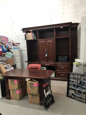Custom made solid wood computer cabinet with 4 file drawers and desk for Sale in South Miami, FL
