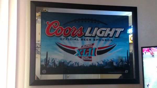 Super bowl 42 coors light bar beer mirror patriots vs giants for super bowl 42 coors light bar beer mirror patriots vs giants for sale in burleson tx offerup aloadofball Image collections