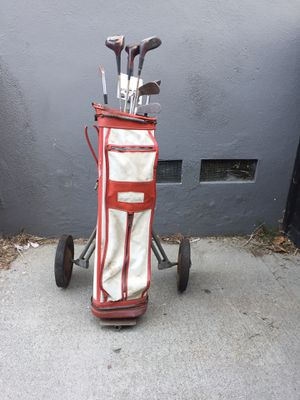 Vintage 1950s Spaulding GOLF CLUBS Rob Jones Jr w Wilson BAG & Cart for Sale in Los Angeles, CA