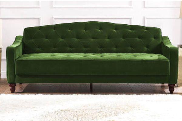 Novogratz Vintage Tufted Sofa Sleeper Brand New Green For Sale In